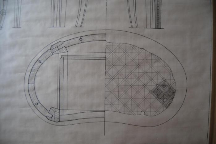 Coupe horizontale et projet de marqueterie
