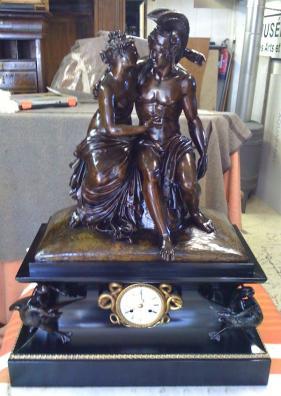 Pendule marbre et bronze